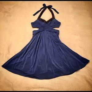 BCBG MAX AZRIA China Blue Cocktail Dress (size 6)